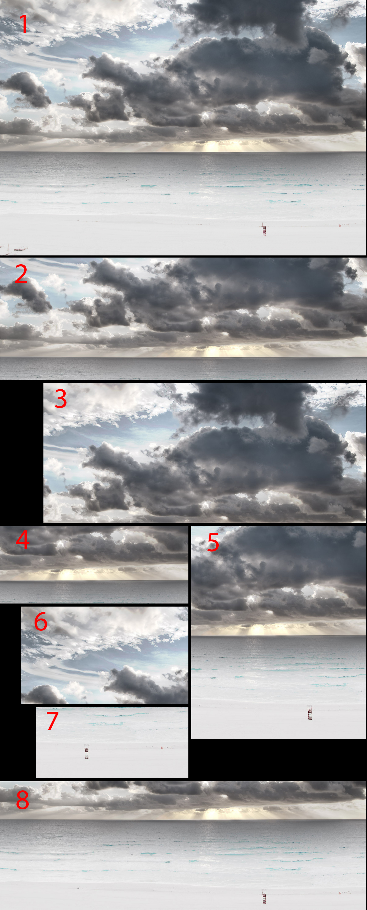 Examples of different cropping decisions and the impact on the final image.